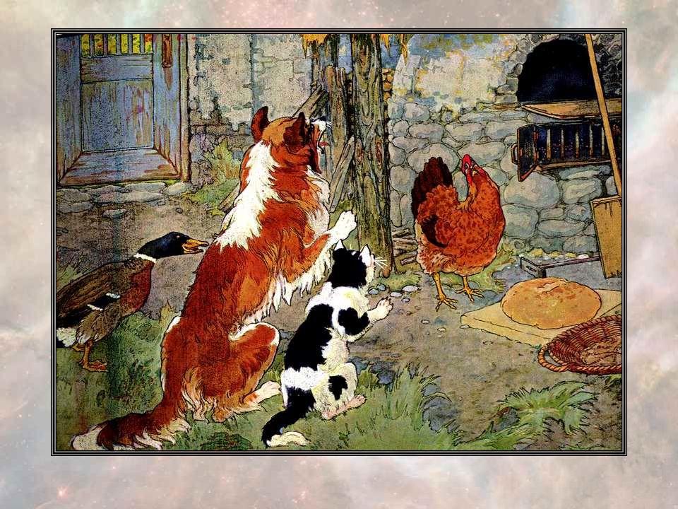 Quand le blé fut battu, la Petite Poule Rousse dit : « Qui portera ce blé au moulin ? - Pas moi, dit le Canard. - Pas moi, dit le Chat. - Pas moi, dit
