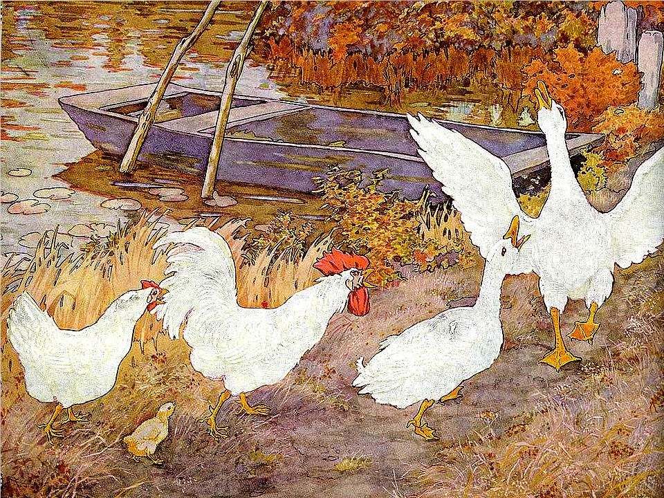 Et ils allèrent par les chemins, et croisèrent Renard Canaille. « Bonjour, Coq Dutoc, Poule Saoule et Poussin Poussif, dit canard Canaille, où allez-v