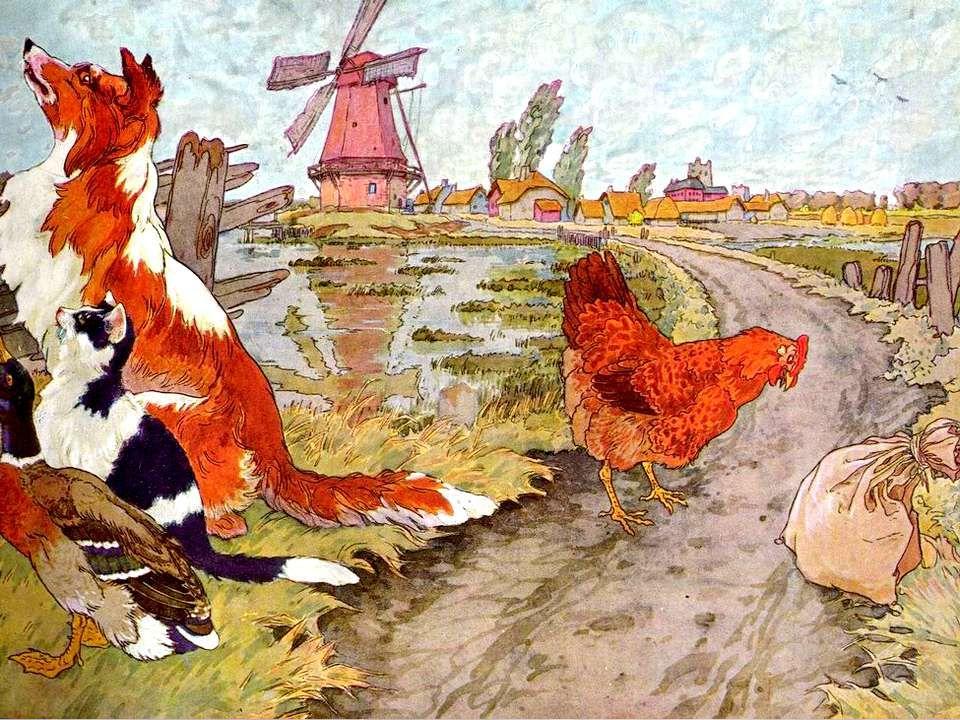 Quand le blé fut coupé, la Petite Poule Rousse demanda : « Qui veut battre ce blé ? - Pas moi, dit le canard. - Pas moi, dit le chat. - Pas moi, dit l