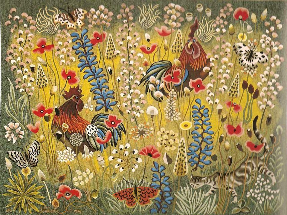 Tapisserie, atelier Goubely Aubusson, 1993, 248x173 Les chèvres du Larzac sont la dernière grande tapisserie de Dom Robert. A plus de quatre- vingt-ci