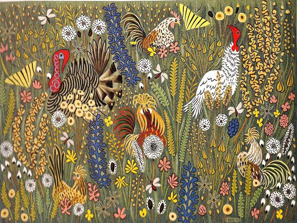 Tapisserie, atelier Goubely, Aubusson, 1961,185x150 A mon retour dAngleterre jai retrouvé les co- quelicots, papillons et basses-cours du terroir et t