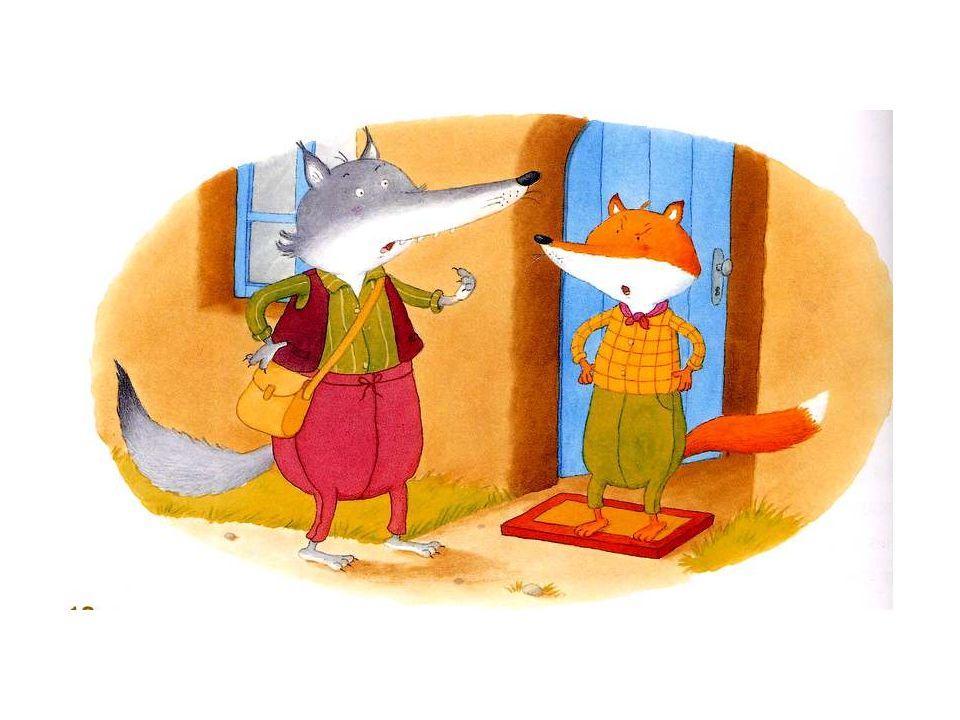 Le loup aussi se met en route. Et, comme il passe devant la maison du renard, il sarrête pour lui proposer de faire leur visite ensemble. Mais le rena