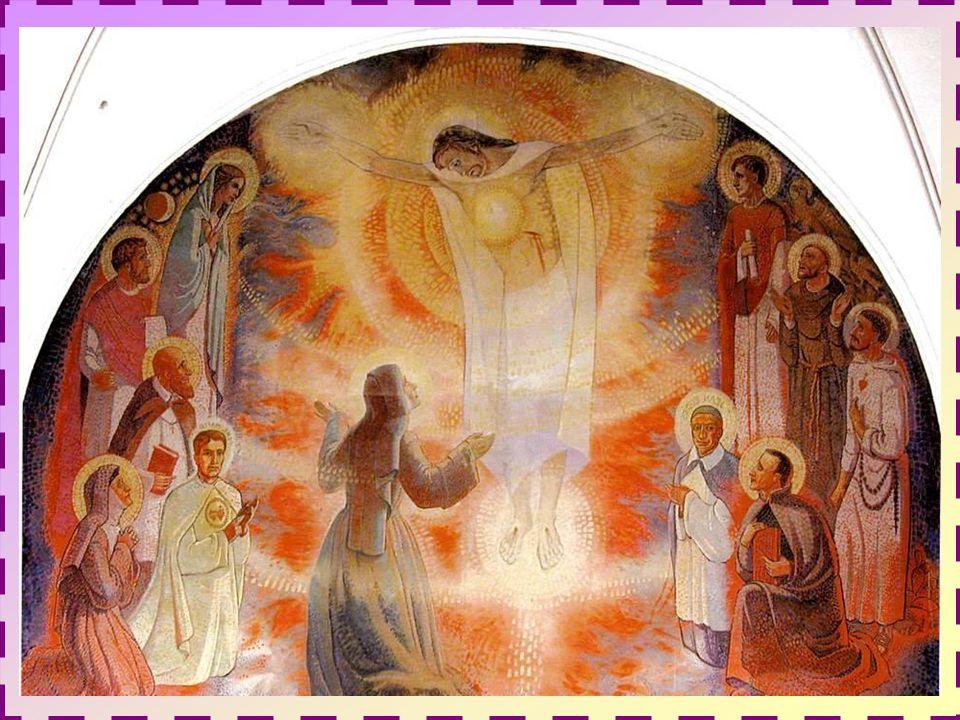 Une toile murale figurant à la chapelle de la Visitation œuvre de Louis Barbier en 1966, représente, au centre, une célèbre apparition où Jésus montre à Marguerite-Marie ses cinq plaies brillantes comme cinq soleils.
