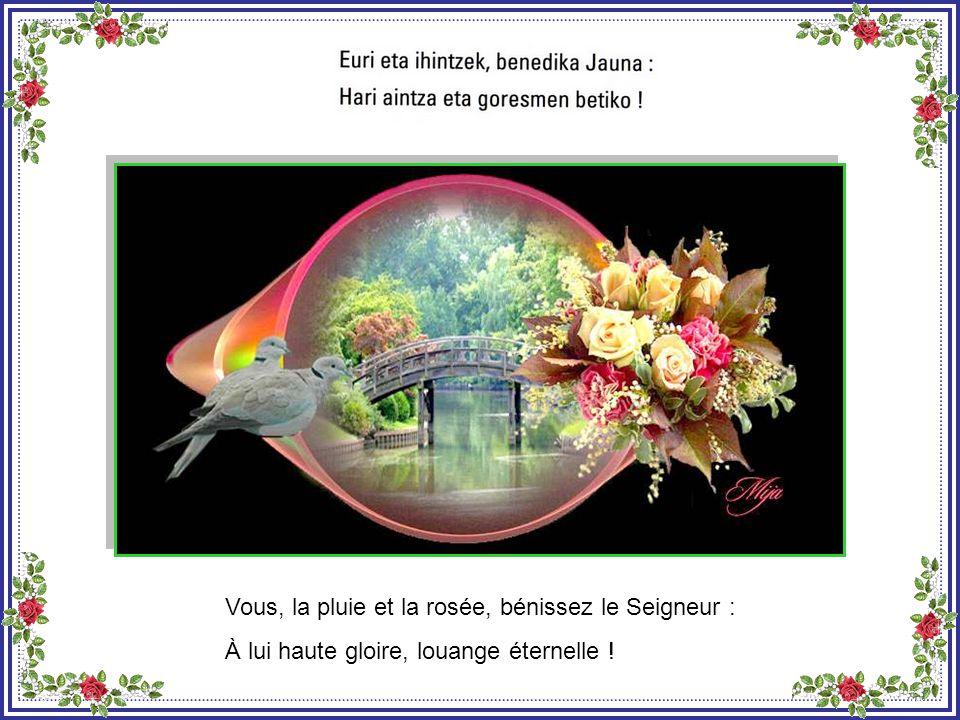 Et vous, les astres du ciel, bénissez le Seigneur : À lui haute gloire, louange éternelle !