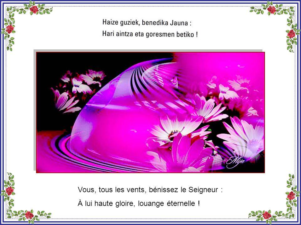 Vous, la pluie et la rosée, bénissez le Seigneur : À lui haute gloire, louange éternelle !
