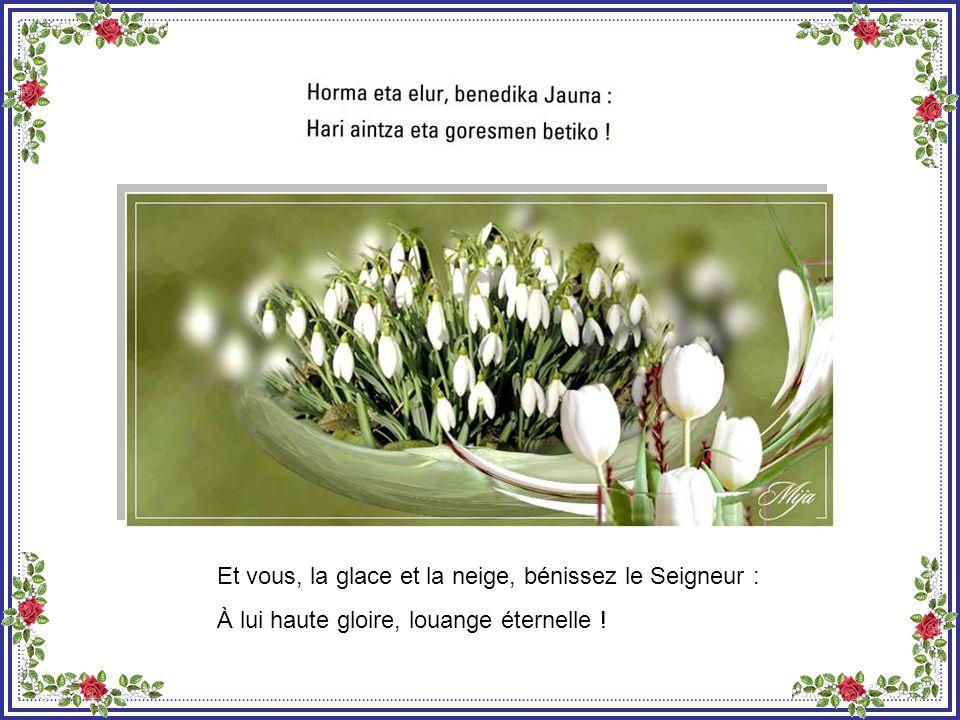 Et vous, le gel et la bruine, bénissez le Seigneur : À lui haute gloire, louange éternelle !