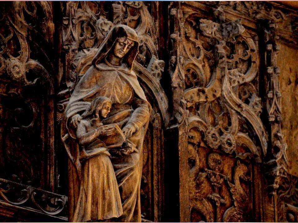 Deux des sculptures du jubé, la Vierge et Joseph.