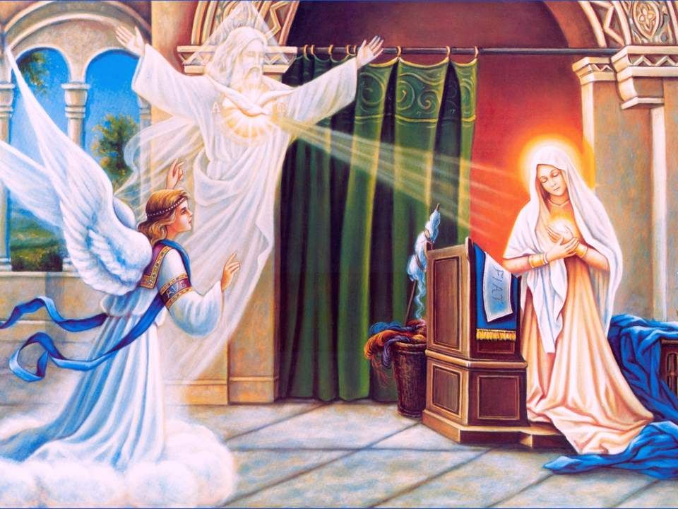 MARIE DE L'ANNONCIATION L'Annonciation est la fête de l'Incarnation. Il est impossible de l'attacher à l'un des acteurs sans contempler l'autre : Mari