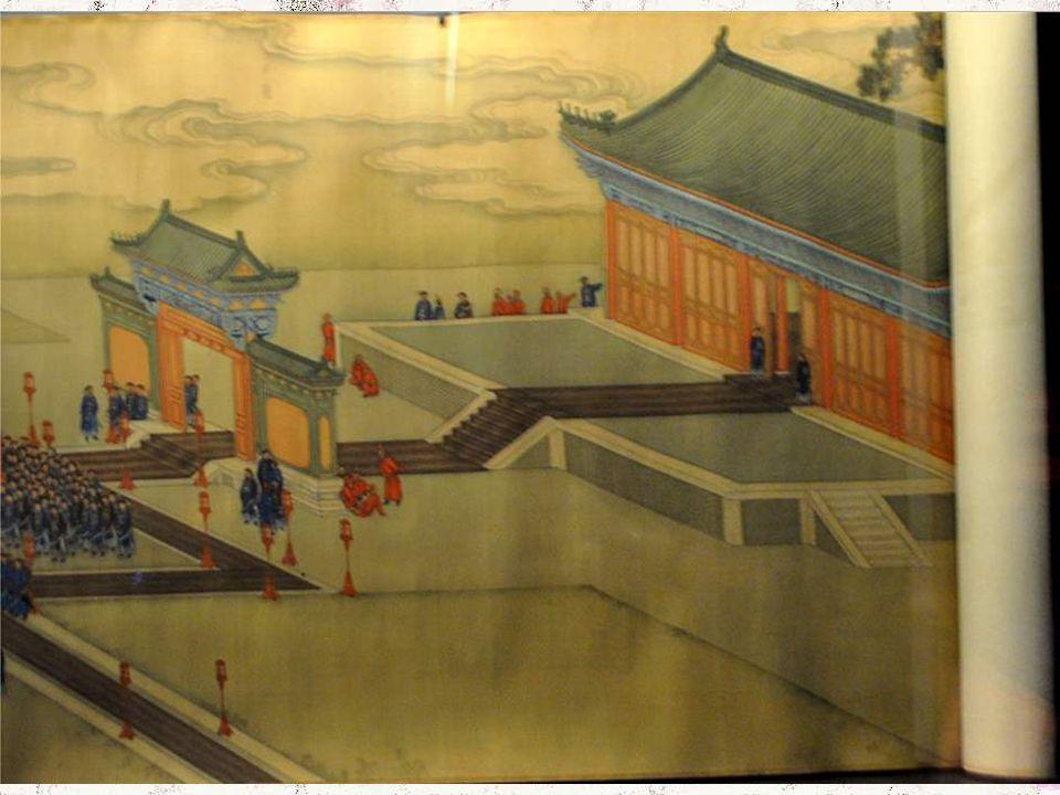 Cérémonie du Premier Sillon au Temple de l'Agriculture. Le temple principal était consacré à Shennong, empereur mythique à qui sont attribuées l'inven