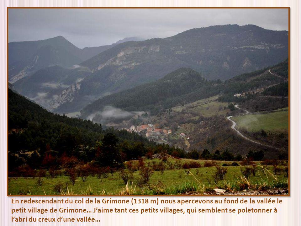 En redescendant du col de la Grimone (1318 m) nous apercevons au fond de la vallée le petit village de Grimone… Jaime tant ces petits villages, qui semblent se poletonner à labri du creux dune vallée…