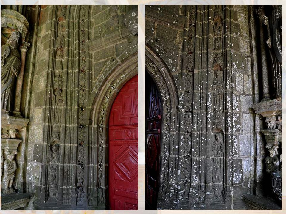 Détail d'un médaillon au pied d'un apôtre. Sous ce porche – nous dit le document cité plus haut - le regard de la Vierge, de l'ange de l'Annon- ciatio