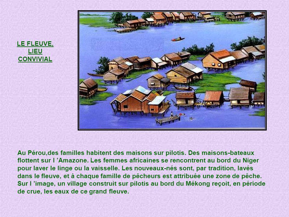 LE FLEUVE, LIEU CONVIVIAL Au Pérou,des familles habitent des maisons sur pilotis.