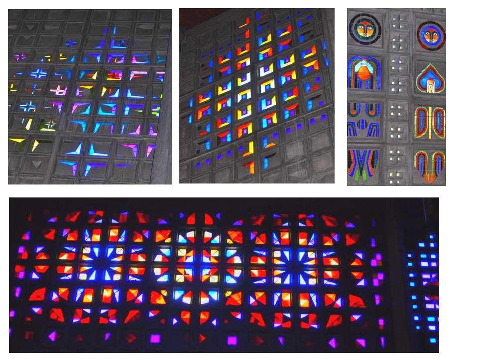 Nous y avons trouvé cette église moderne où les vitraux, simples cubes de cristal de Baccara (évidemment !) incrustés dans les murs, semblent jouer aux quatre coins avec les couleurs !