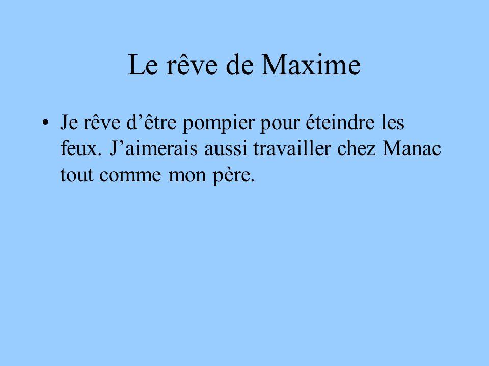 Le rêve de Maxime Je rêve dêtre pompier pour éteindre les feux.