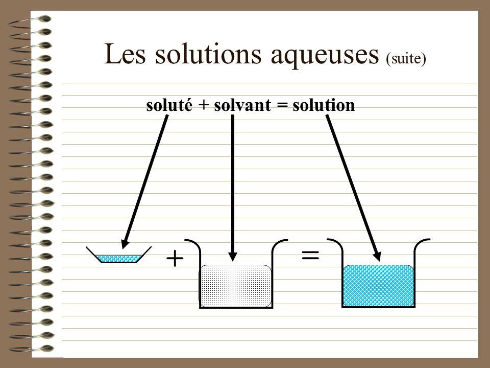 Les solutions aqueuses Une solution est formée d un soluté et d un solvant. On utilise habituellement moins de soluté que de solvant. Ex:. Une solutio