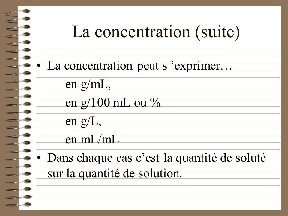 La concentration La concentration d une solution se calcule en divisant la quantité de soluté par la quantité de solution. Concentration = quantité de