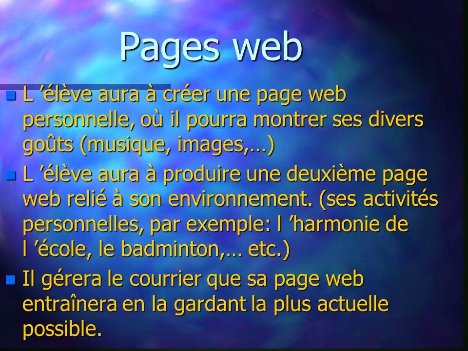 Pages web n L élève aura à créer une page web personnelle, où il pourra montrer ses divers goûts (musique, images,…) n L élève aura à produire une deu