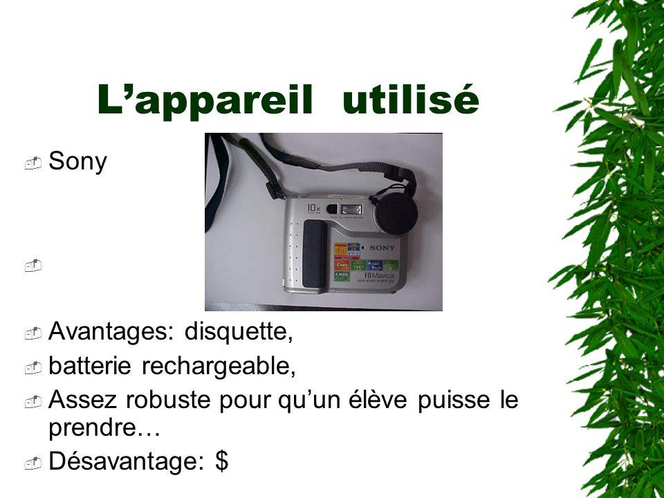 Lappareil utilisé Sony Avantages: disquette, batterie rechargeable, Assez robuste pour quun élève puisse le prendre… Désavantage: $