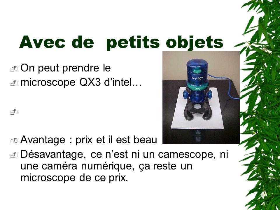 Avec de petits objets On peut prendre le microscope QX3 dintel… photo QX3 Avantage : prix et il est beau Désavantage, ce nest ni un camescope, ni une caméra numérique, ça reste un microscope de ce prix.