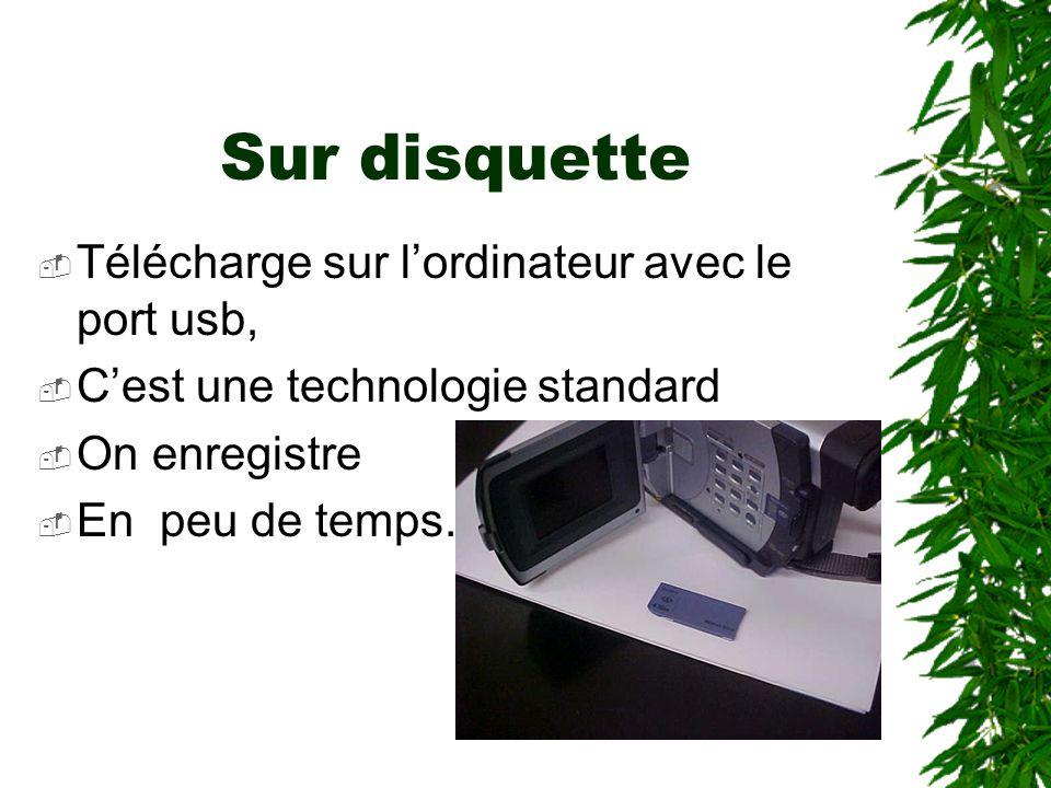 Sur disquette Télécharge sur lordinateur avec le port usb, Cest une technologie standard On enregistre En peu de temps.