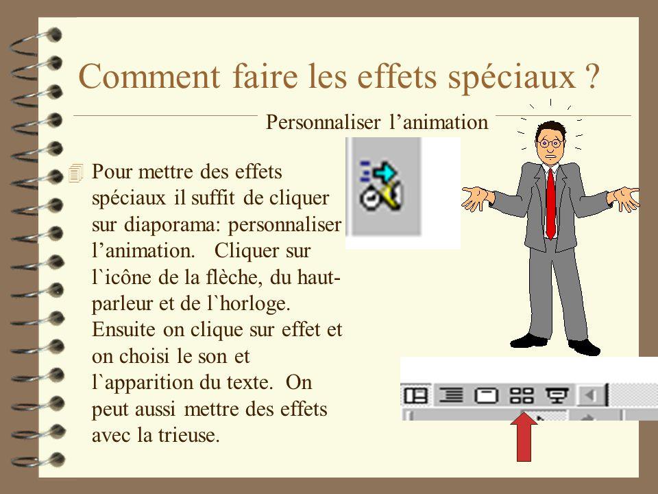 Comment faire les effets spéciaux ? 4 Pour mettre des effets spéciaux il suffit de cliquer sur diaporama: personnaliser lanimation. Cliquer sur l`icôn