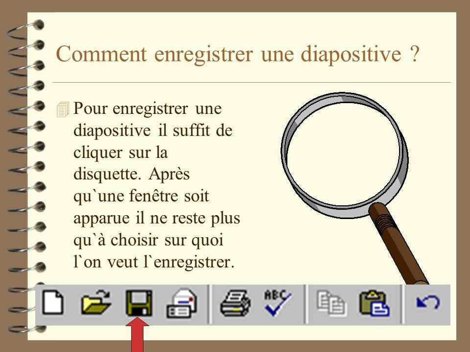 Comment enregistrer une diapositive ? 4 Pour enregistrer une diapositive il suffit de cliquer sur la disquette. Après qu`une fenêtre soit apparue il n