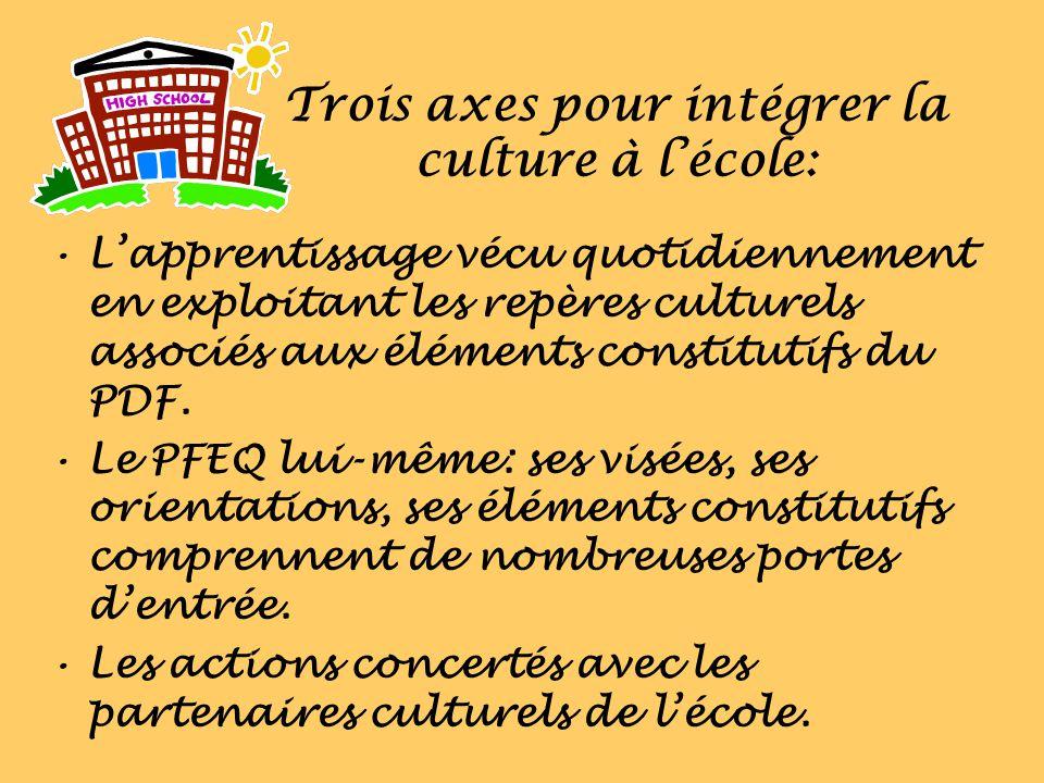 Trois axes pour intégrer la culture à lécole: Lapprentissage vécu quotidiennement en exploitant les repères culturels associés aux éléments constituti