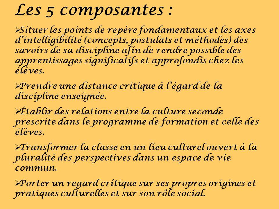 Les 5 composantes : Situer les points de repère fondamentaux et les axes dintelligibilité (concepts, postulats et méthodes) des savoirs de sa discipli