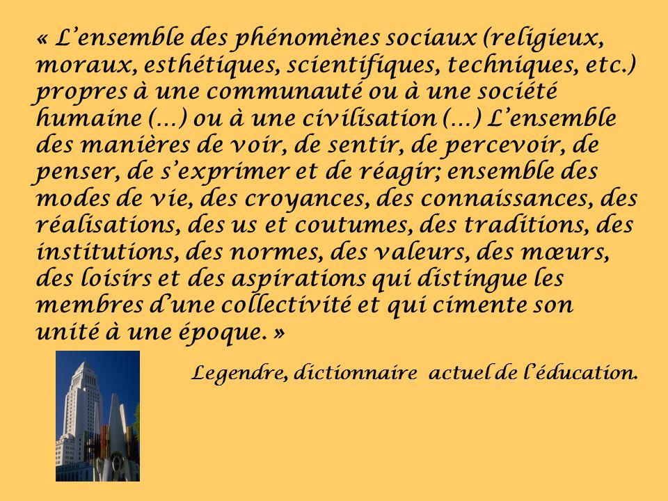 « Lensemble des phénomènes sociaux (religieux, moraux, esthétiques, scientifiques, techniques, etc.) propres à une communauté ou à une société humaine
