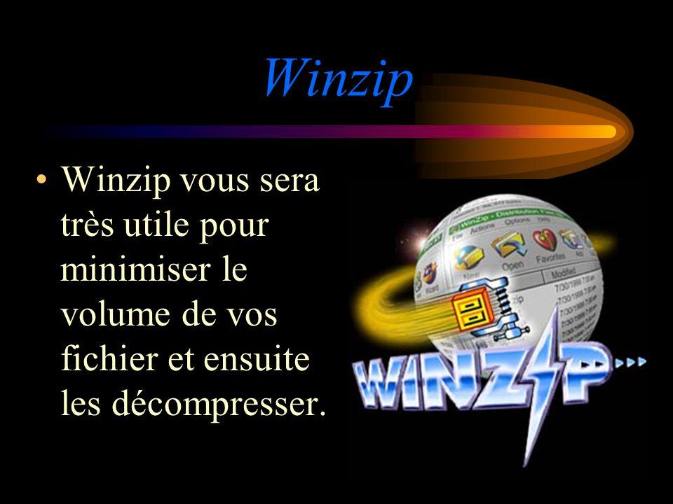 Winzip Winzip vous sera très utile pour minimiser le volume de vos fichier et ensuite les décompresser.