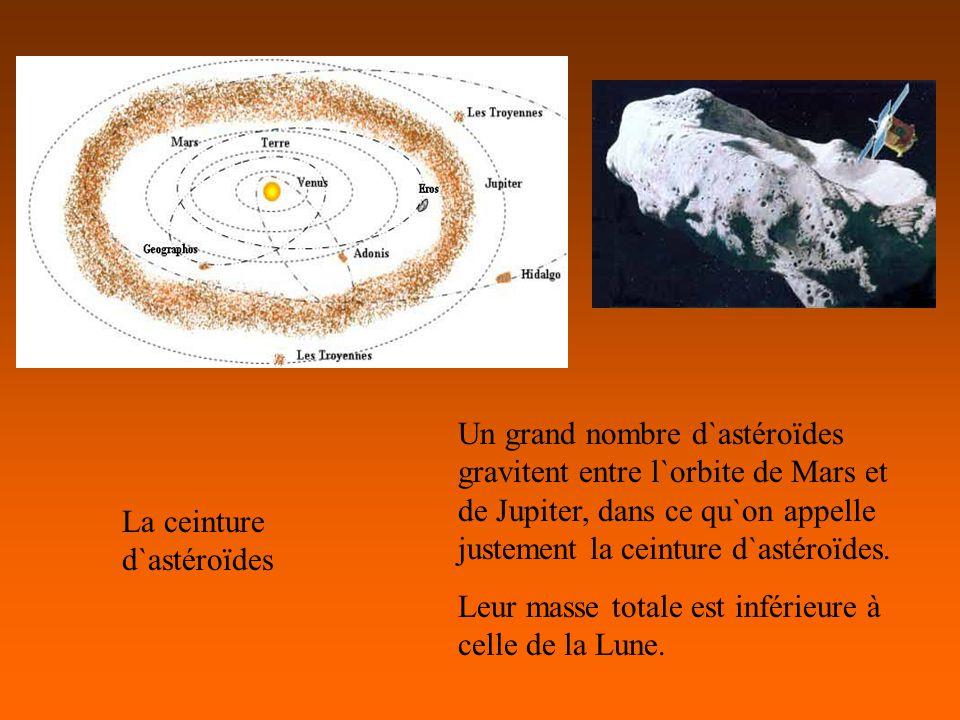 La ceinture d`astéroïdes Un grand nombre d`astéroïdes gravitent entre l`orbite de Mars et de Jupiter, dans ce qu`on appelle justement la ceinture d`astéroïdes.