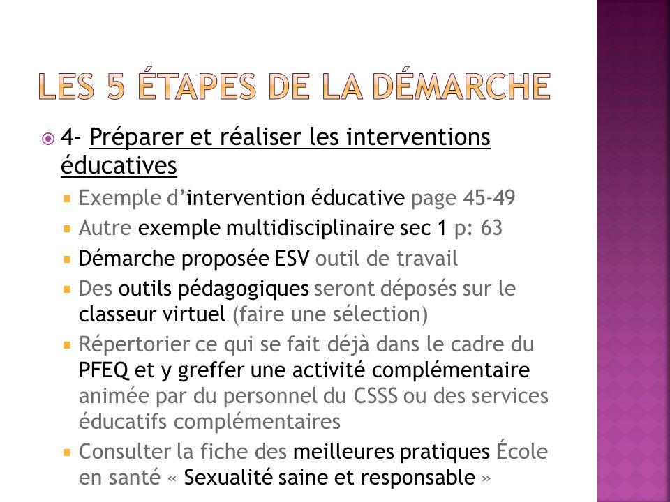 4- Préparer et réaliser les interventions éducatives Exemple dintervention éducative page 45-49 Autre exemple multidisciplinaire sec 1 p: 63 Démarche proposée ESV outil de travail Des outils pédagogiques seront déposés sur le classeur virtuel (faire une sélection) Répertorier ce qui se fait déjà dans le cadre du PFEQ et y greffer une activité complémentaire animée par du personnel du CSSS ou des services éducatifs complémentaires Consulter la fiche des meilleures pratiques École en santé « Sexualité saine et responsable »