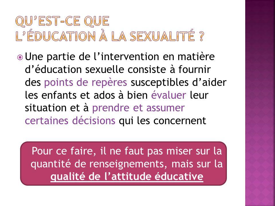 Une partie de lintervention en matière déducation sexuelle consiste à fournir des points de repères susceptibles daider les enfants et ados à bien évaluer leur situation et à prendre et assumer certaines décisions qui les concernent Pour ce faire, il ne faut pas miser sur la quantité de renseignements, mais sur la qualité de lattitude éducative