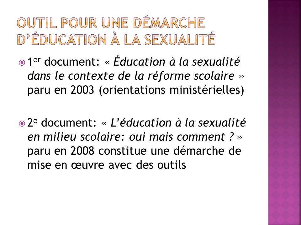 1 er document: « Éducation à la sexualité dans le contexte de la réforme scolaire » paru en 2003 (orientations ministérielles) 2 e document: « Léducation à la sexualité en milieu scolaire: oui mais comment .