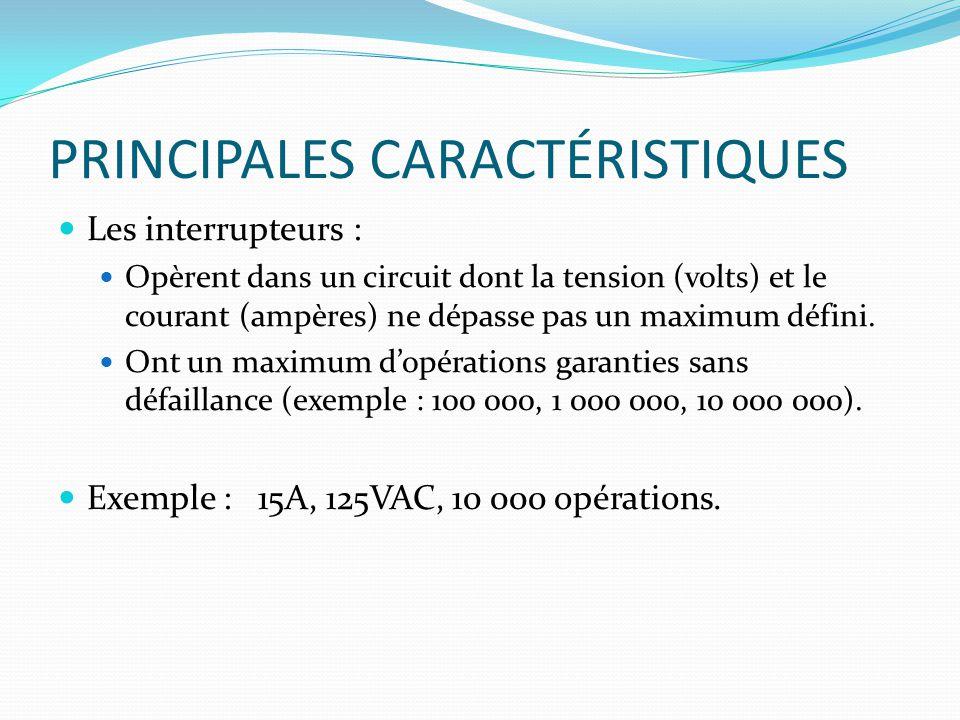 PRINCIPALES CARACTÉRISTIQUES Les interrupteurs : Opèrent dans un circuit dont la tension (volts) et le courant (ampères) ne dépasse pas un maximum déf