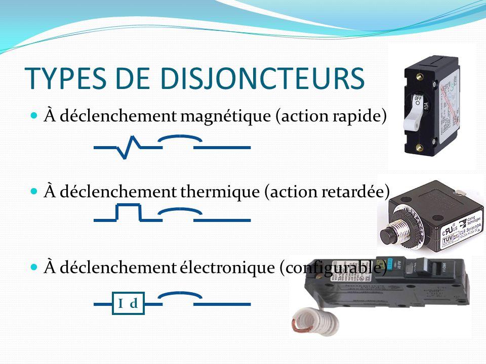 À déclenchement magnétique (action rapide) À déclenchement thermique (action retardée) À déclenchement électronique (configurable) TYPES DE DISJONCTEU