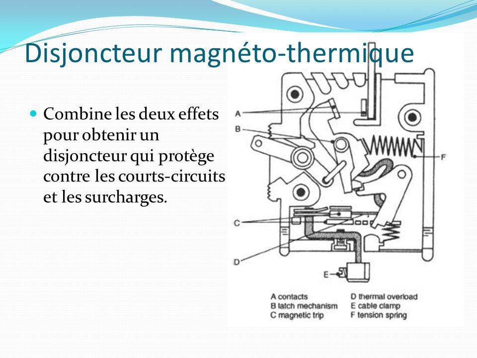 Disjoncteur magnéto-thermique Combine les deux effets pour obtenir un disjoncteur qui protège contre les courts-circuits et les surcharges.