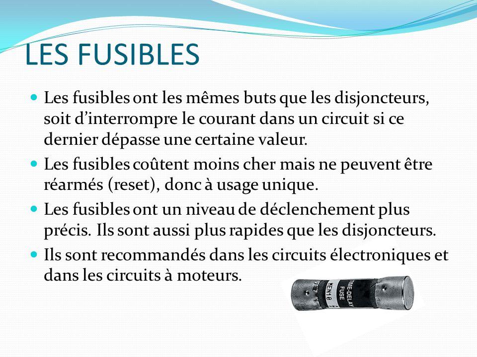 LES FUSIBLES Les fusibles ont les mêmes buts que les disjoncteurs, soit dinterrompre le courant dans un circuit si ce dernier dépasse une certaine val