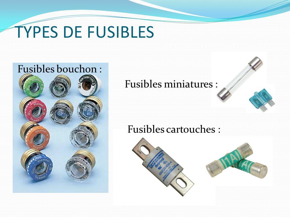 TYPES DE FUSIBLES Fusibles bouchon : Fusibles miniatures : Fusibles cartouches :