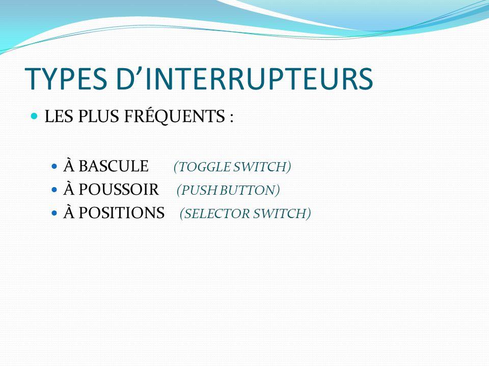 TYPES DINTERRUPTEURS LES PLUS FRÉQUENTS : À BASCULE (TOGGLE SWITCH) À POUSSOIR (PUSH BUTTON) À POSITIONS (SELECTOR SWITCH)