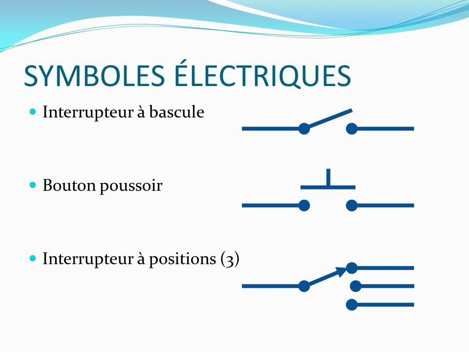 SYMBOLES ÉLECTRIQUES Interrupteur à bascule Bouton poussoir Interrupteur à positions (3)