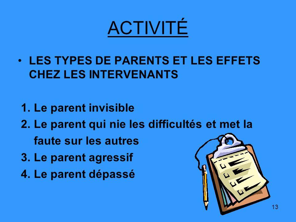 13 ACTIVITÉ LES TYPES DE PARENTS ET LES EFFETS CHEZ LES INTERVENANTS 1. Le parent invisible 2. Le parent qui nie les difficultés et met la faute sur l