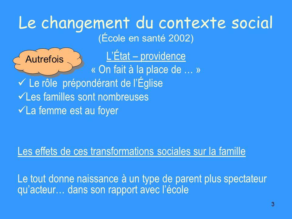 3 Le changement du contexte social (École en santé 2002) LÉtat – providence « On fait à la place de … » Le rôle prépondérant de lÉglise Les familles s