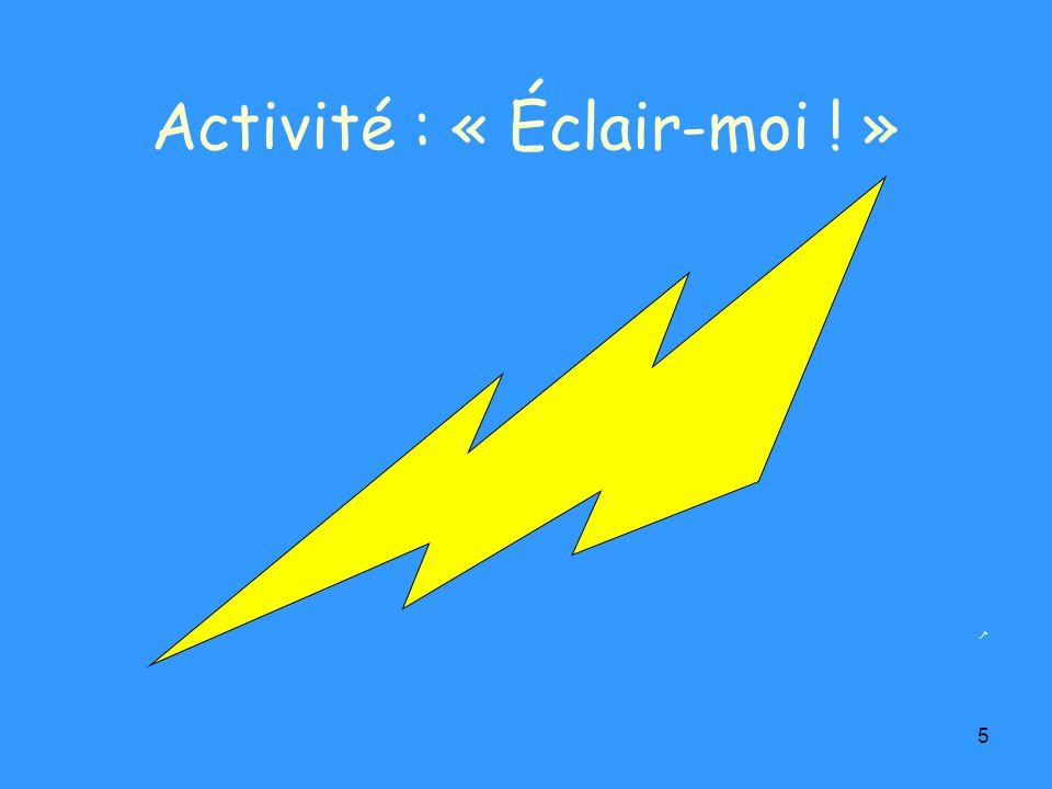 5 Activité : « Éclair-moi ! »