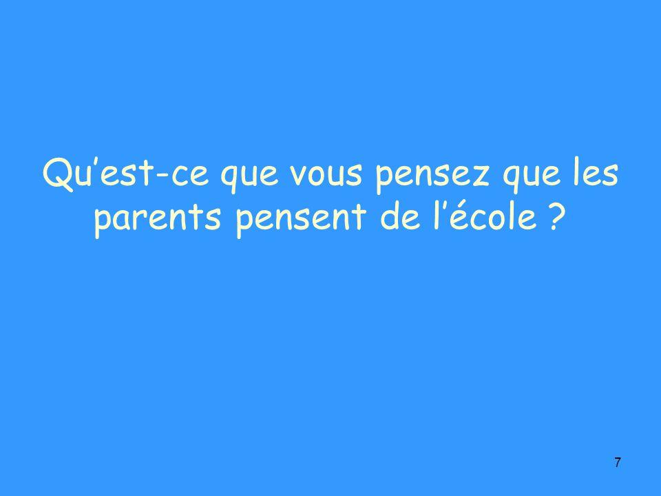 7 Quest-ce que vous pensez que les parents pensent de lécole ?
