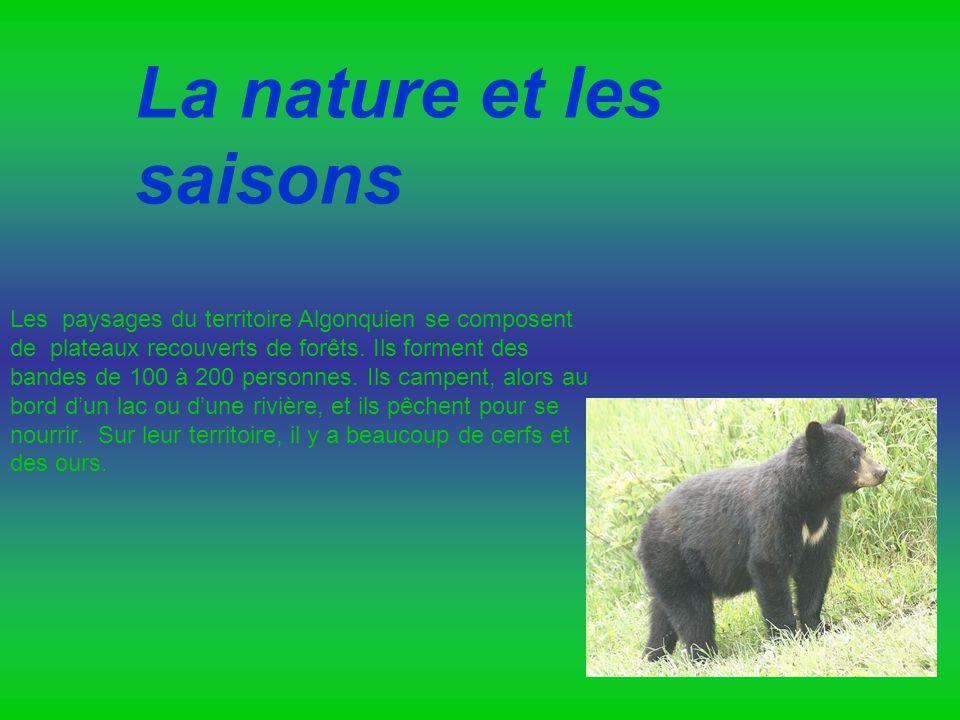 La nature et les saisons Les paysages du territoire Algonquien se composent de plateaux recouverts de forêts. Ils forment des bandes de 100 à 200 pers