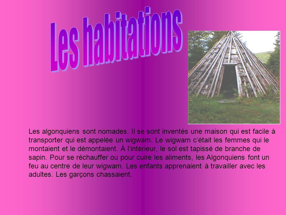 Les algonquiens sont nomades. Il se sont inventés une maison qui est facile à transporter qui est appelée un wigwam. Le wigwam cétait les femmes qui l