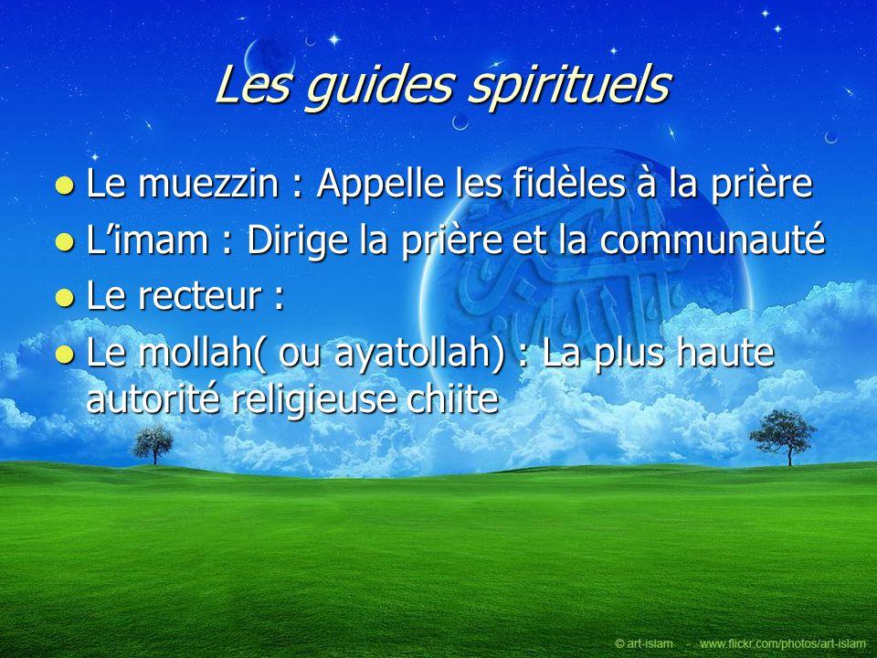 Les guides spirituels Le muezzin : Appelle les fidèles à la prière Le muezzin : Appelle les fidèles à la prière Limam : Dirige la prière et la communa