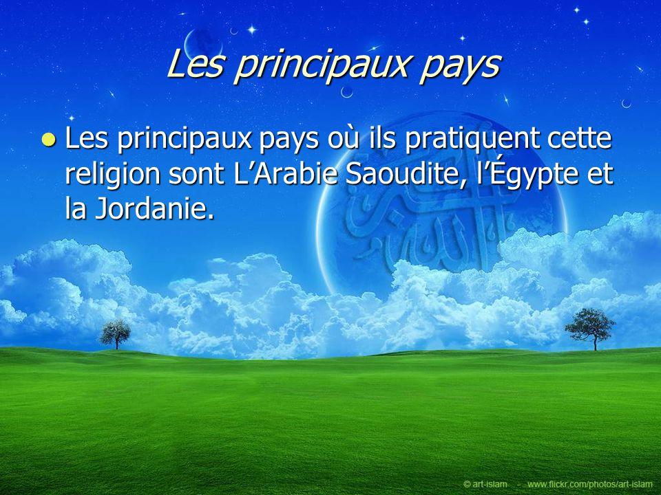 Les principaux pays Les principaux pays où ils pratiquent cette religion sont LArabie Saoudite, lÉgypte et la Jordanie. Les principaux pays où ils pra