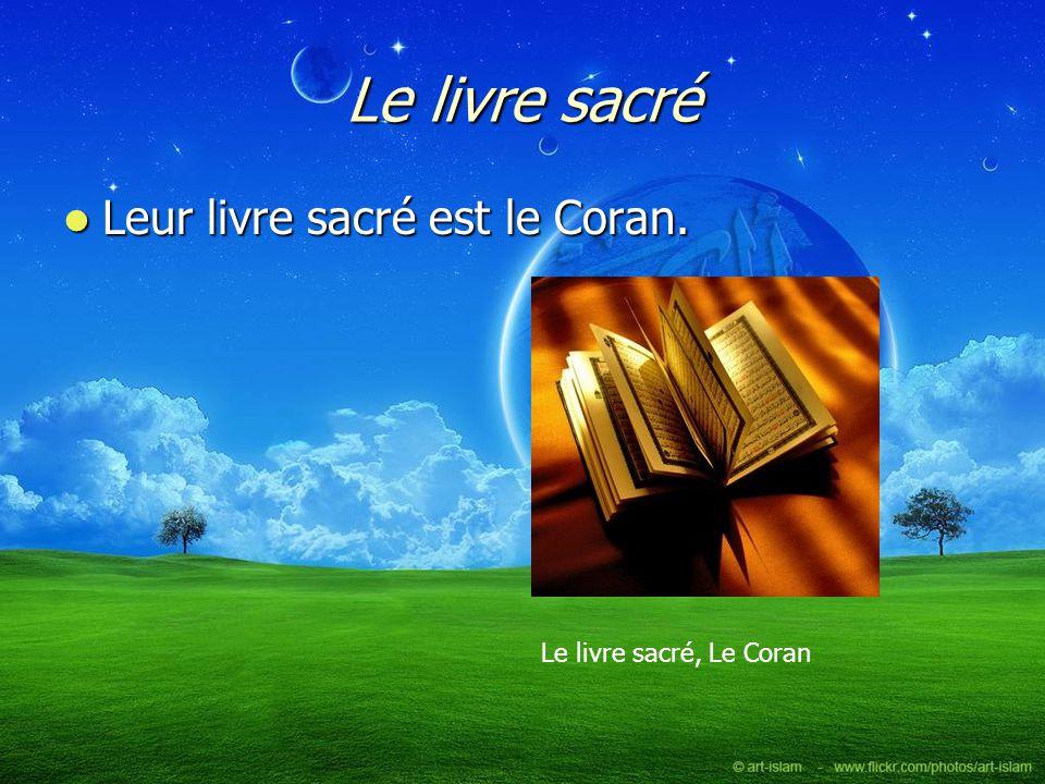 Le livre sacré Leur livre sacré est le Coran. Leur livre sacré est le Coran. Le livre sacré, Le Coran